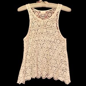 Anthropologie Open Lace Crochet Neutral Layer Top